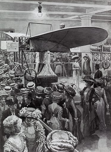 Crowds at Selfridge's examining the first aeroplane to cross the Channel