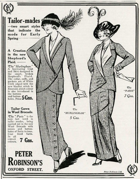 Advert for Peter Robinson's tailor -mades 1913