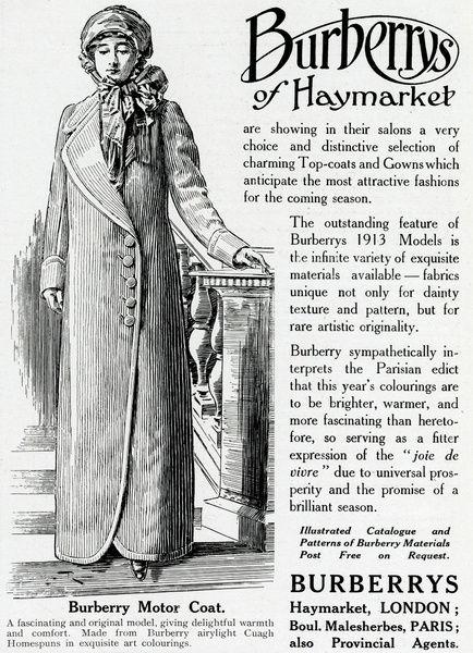 Advert for Burberry motor-coat 1913