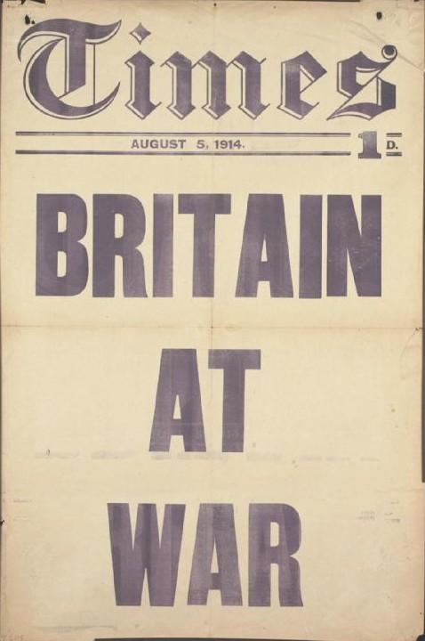 The_Times_placard_Britain_at_War_Aug_1914