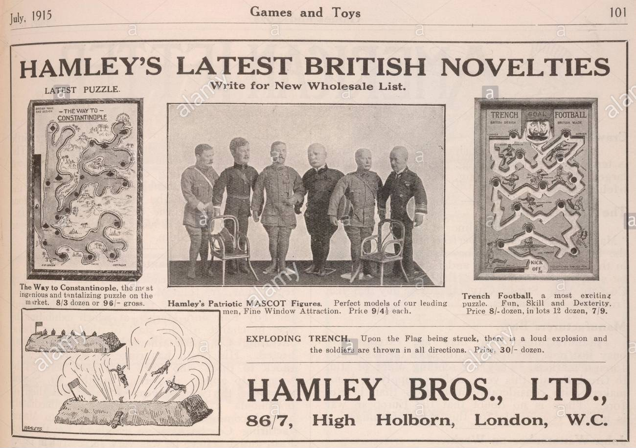 hamleys-latest-british-novelties-an-advertisement-for-toys-and-games-onthe-subject-of-war-games-and-toys-london-1915-source-games-and-toys-july-1915-page-101-R5AN64