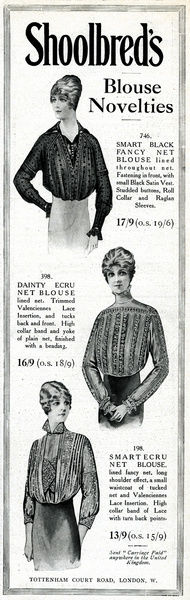 Advert for Shoolbred's blouses 1914
