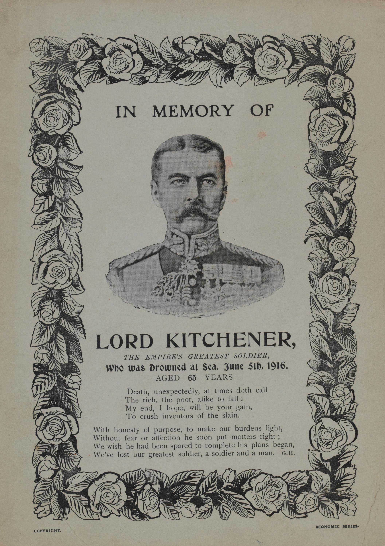 Printed sheet in memory of Lord Kitchener, drowned 5 June 1916.