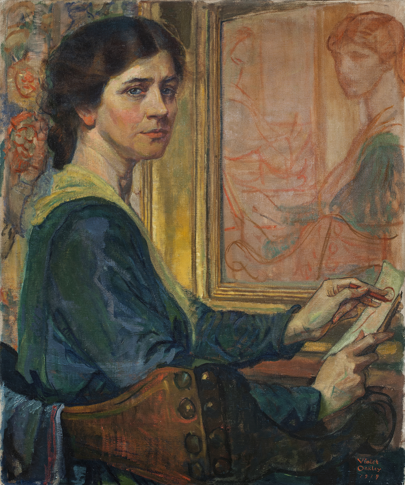 Violet Oakley, 1874 - 1961, Self-Portrait, 1919, oil on canvas, mounted on panel, unframed: 30 × 25 in., ANA diploma presentation, January 20, 1920, National Academy Museum, New York. Photo by Glenn Castellano (944-P)